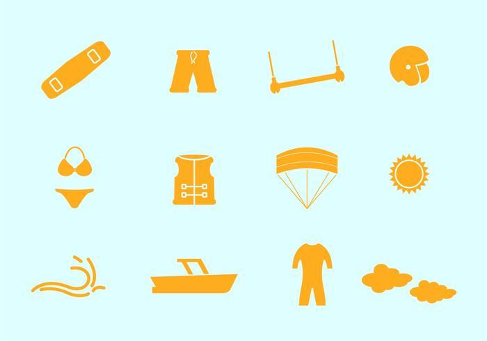 Kitesurfing Vector Iconos