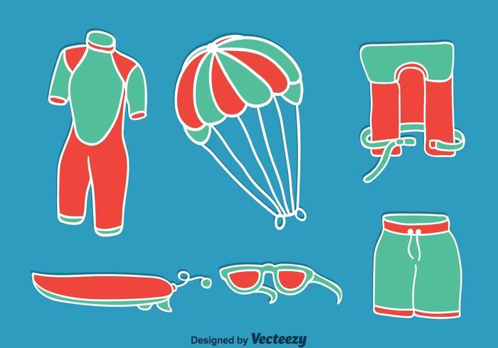 Kitesurfing Element On Blue Vector