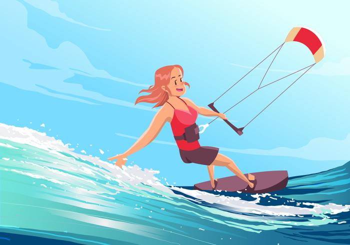 Girl Kitesurfing Vector