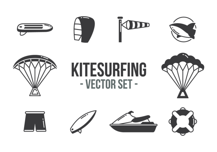 Kitesurfing Icons Vector