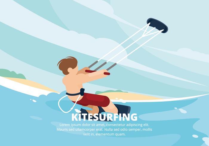 Ilustración del kitesurf