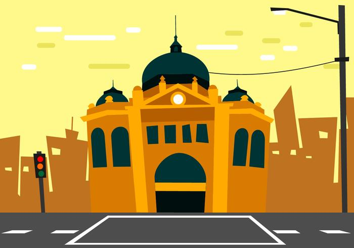 Flinders Street Station Distortion Illustration Style Vector