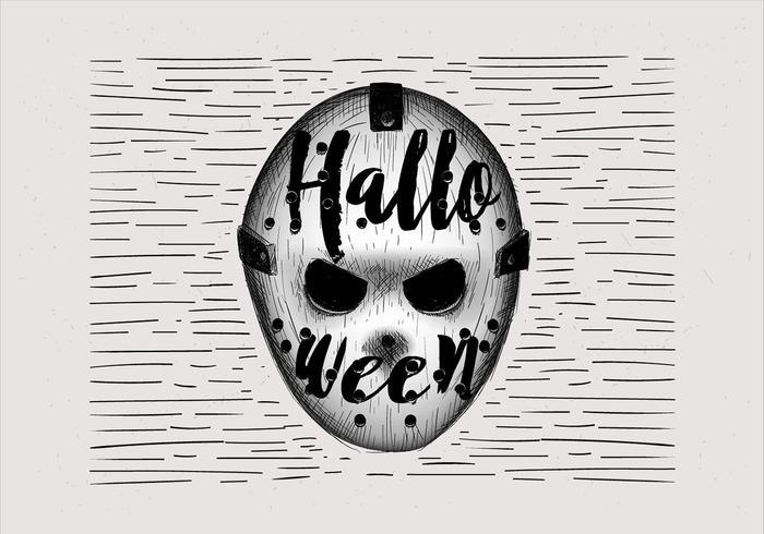 Gratis Handgetekende Halloween Hokey Mask Illustratie