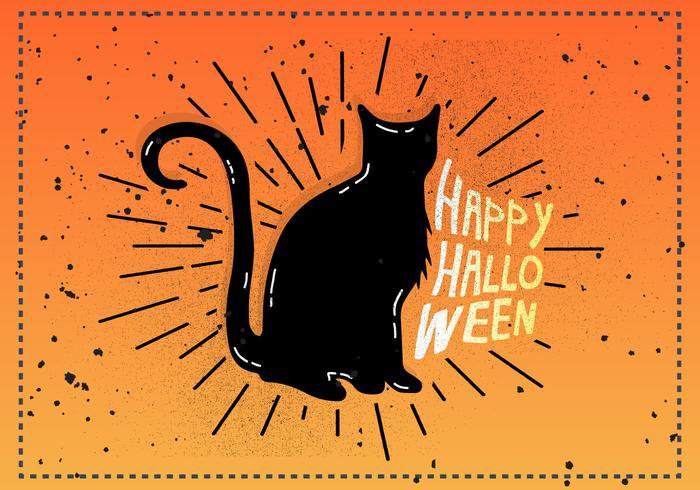 Free Vintage Halloween Cat Vector Illustration