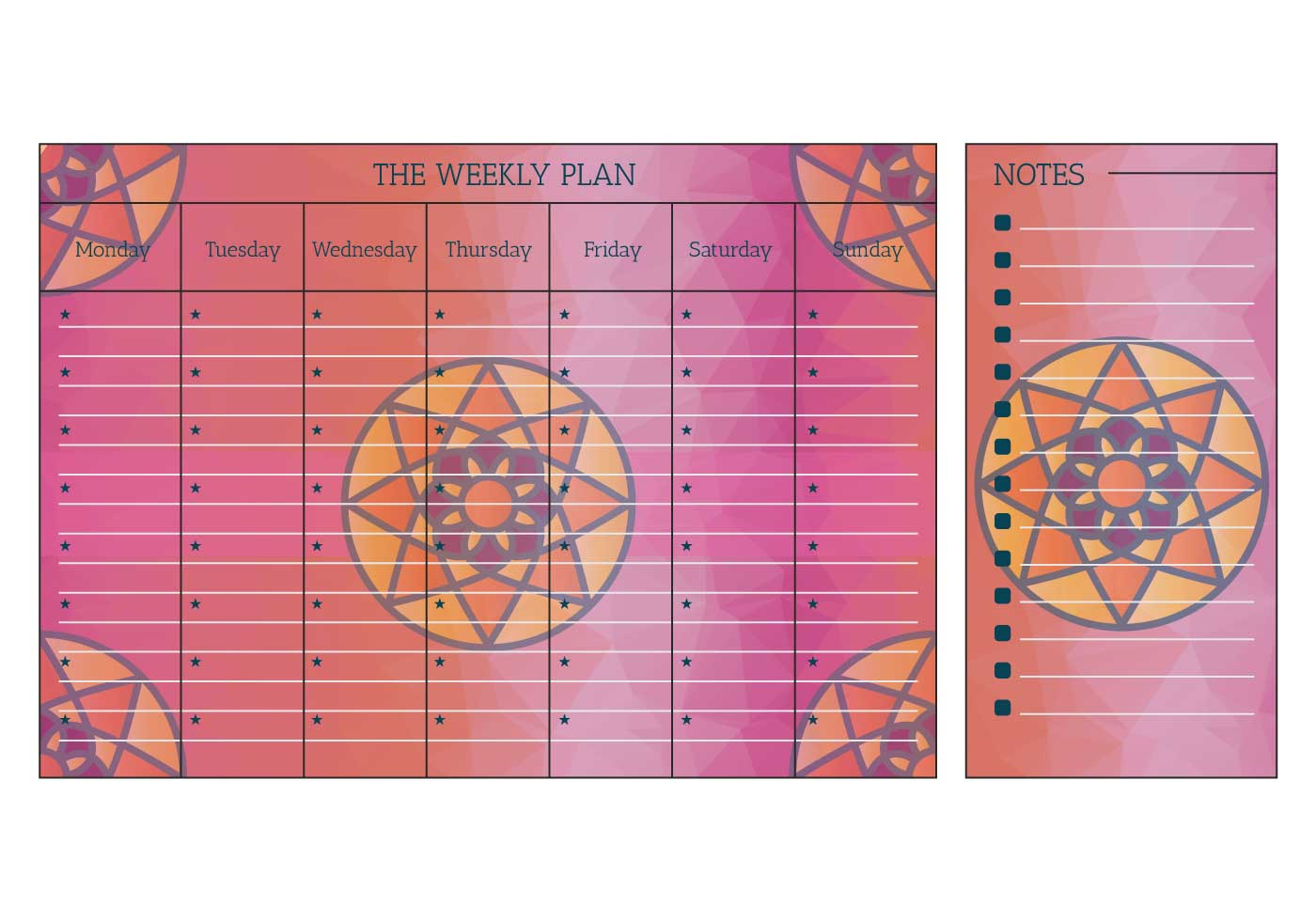 Weekly Calendar Vector : Printable weekly calendar vector download free
