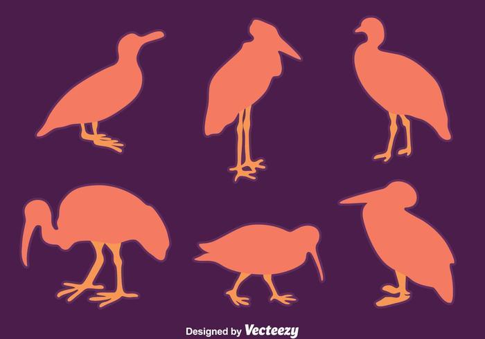 Vector agradable de la colección del pájaro de la silueta