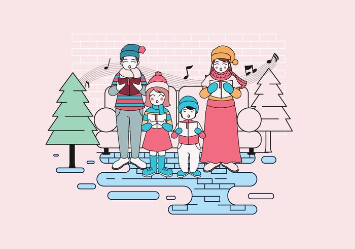Carolers with Family Vector