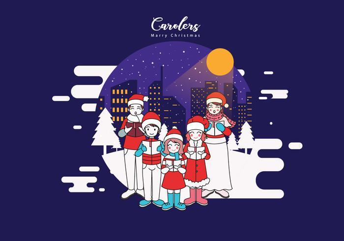 Happy Carolers Vector