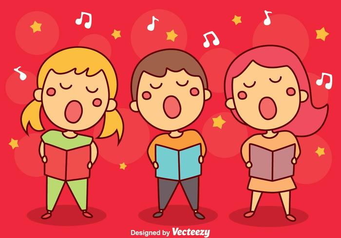 Children Singing Carols Vector