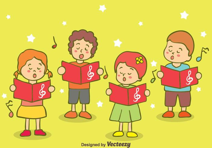 Hand Drawn Kids Singing Carols Vector