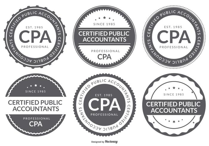 CPA Certified Public Accountant Logo Badge Collection vector