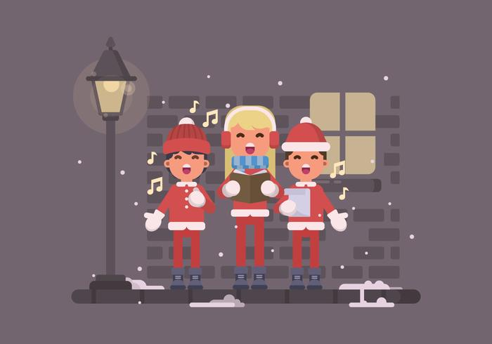 Young Kids Singing Christmas Carols On The Street Illustration
