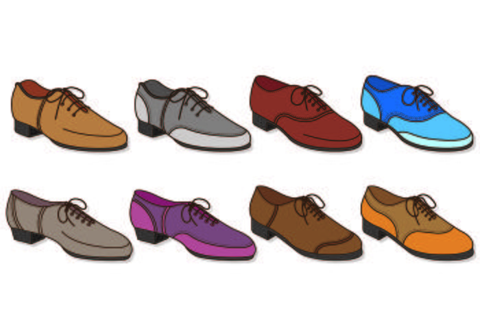 Set Of Male Tap Shoes Icon vector