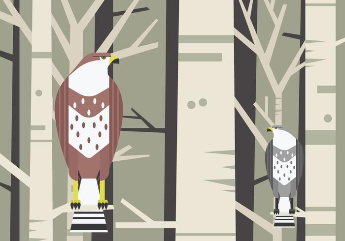 Buzzard Bird Sitting at a Branch Vector Illustration
