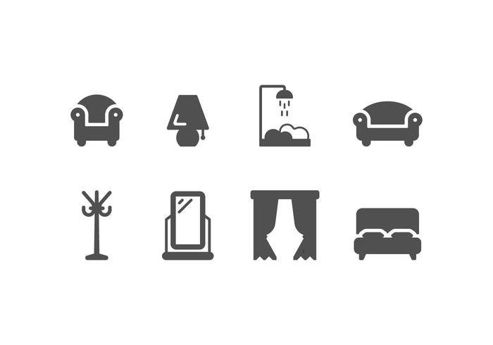 Furniture and home decoration set icons