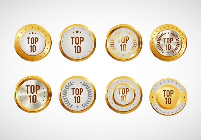 Top 10 Badges Vector