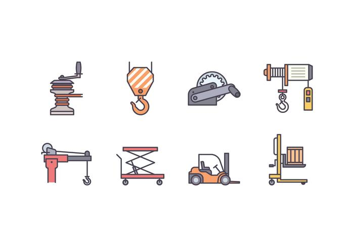 Winch And Lifting Machine Icons vector