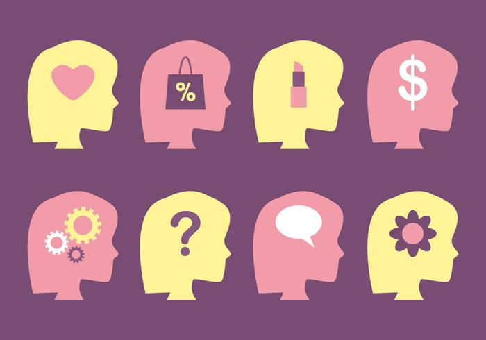 Weibliche Gehirn-und Mind-Vektoren