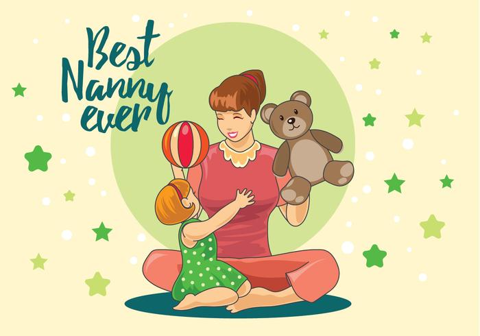 Nanny Playing with Children in the Home Vector