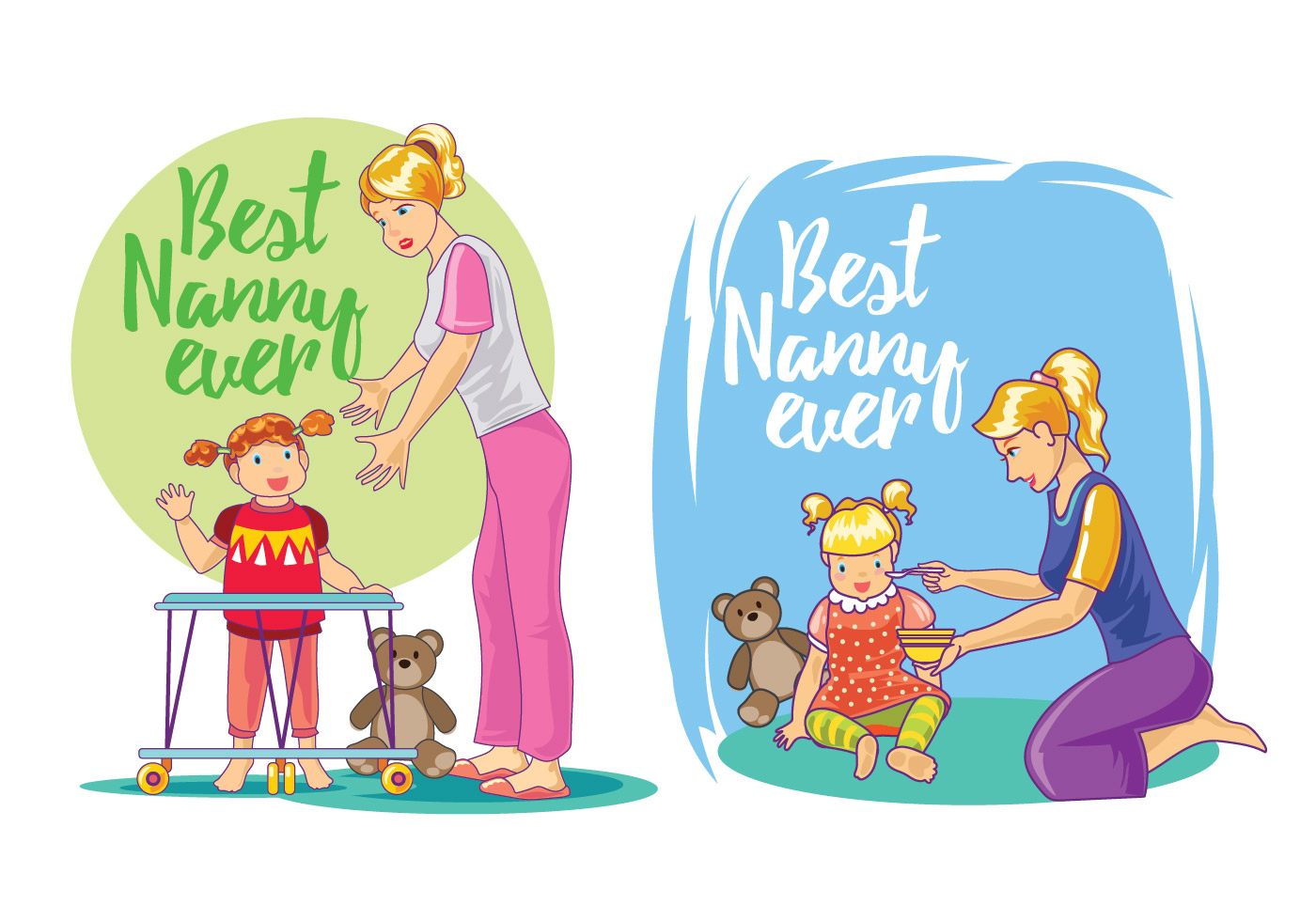 set illustration of best nanny vectors