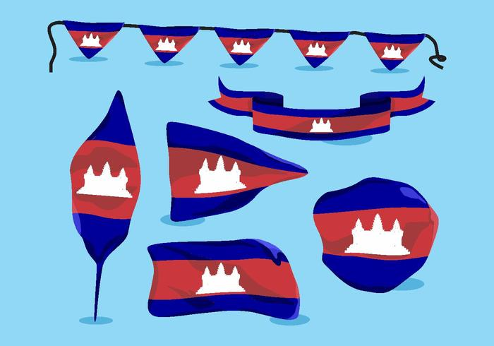 Camboya Flag Vector Pack
