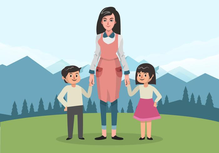 The Nanny With Two Children Vector Illustration