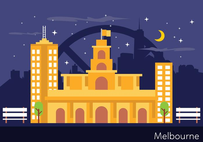 Melbourne landskaps illustration vektor