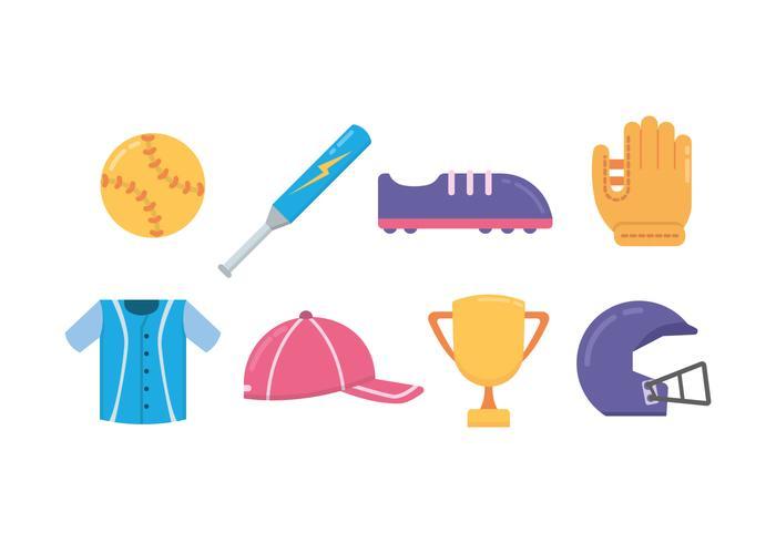 Icone di softball colorate vettore