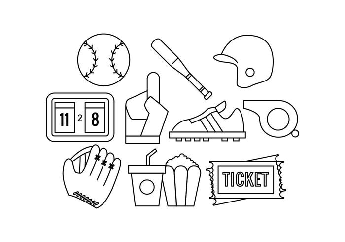 Free Softball Line Icon Vector