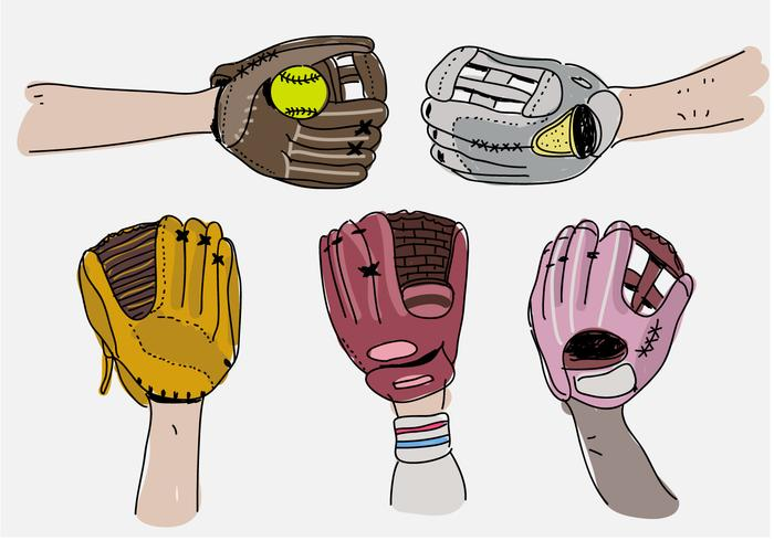 Softball Gloves Pose Hand Drawn Vector Illustration