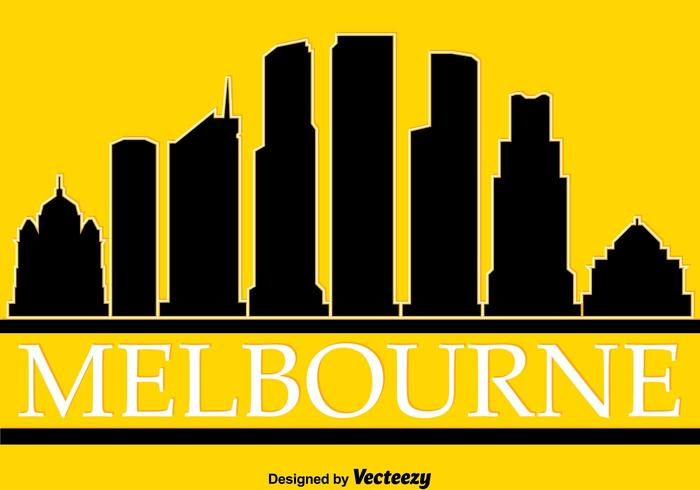 Melbourne Silhouette On Yellow Vector
