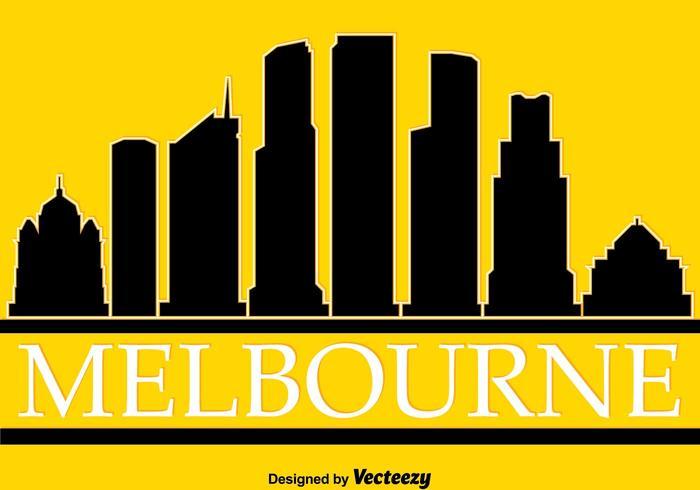 Melbourne silueta en amarillo Vector