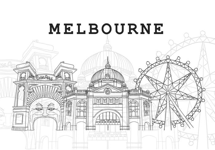 Melbourne Landmark Background Illustration