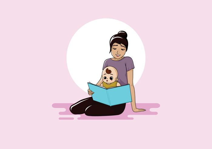 Nanny Reading Book Vector
