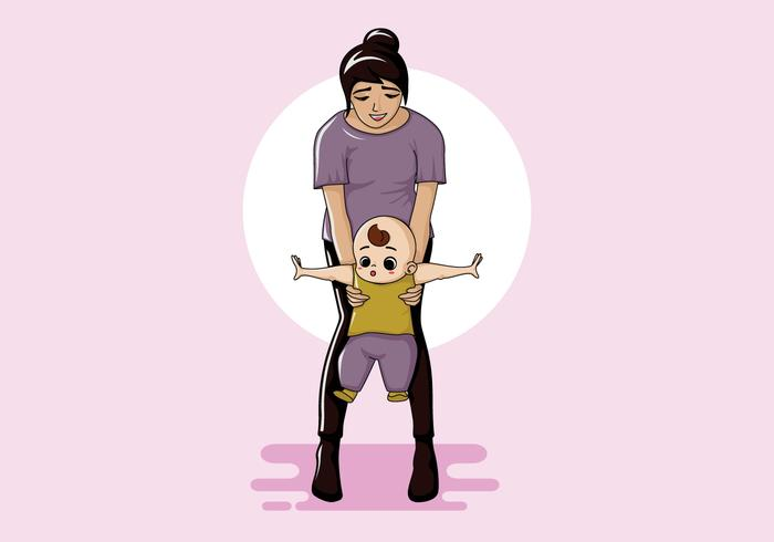 Nanny Walking Baby Vector