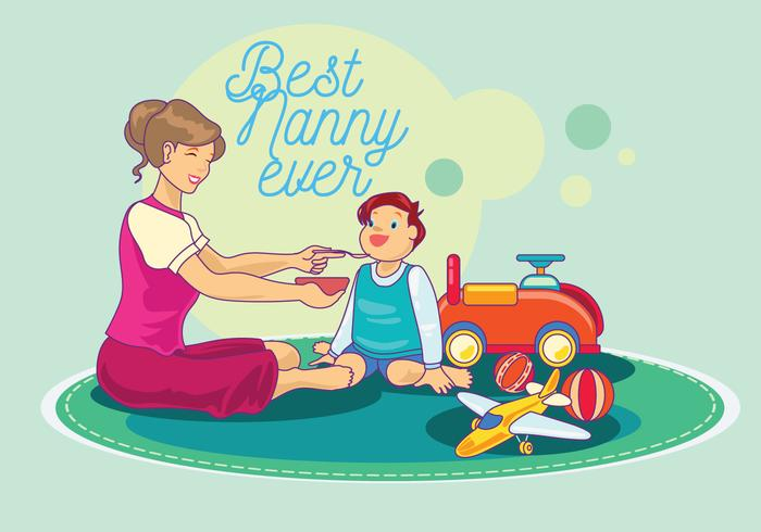 Nanny Feeding Child Vector