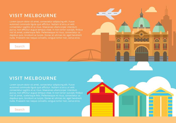 Visita Melbourne Banner Template Free Vector