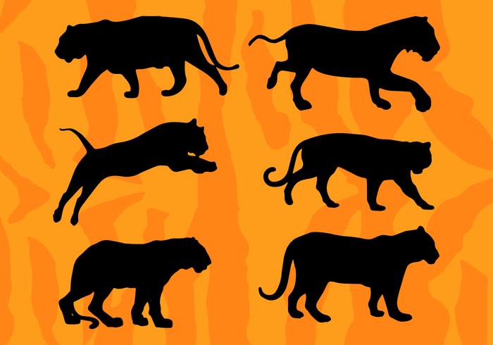 Tigers Silhouettes Vectors