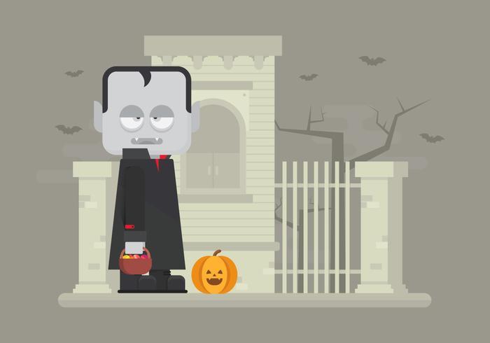 Halloween Illustration with Vampire and Pumpkin  vector