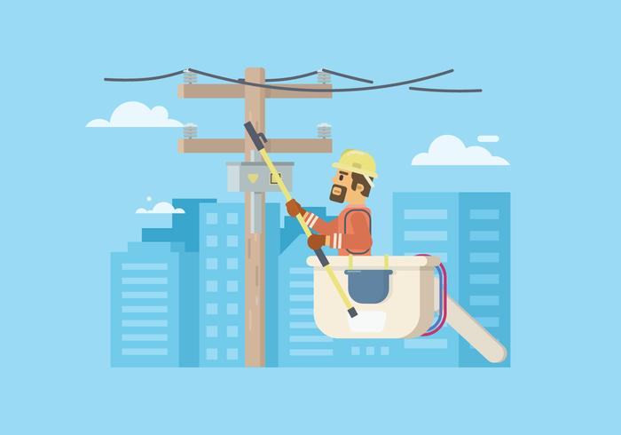 Lineman Working Vector