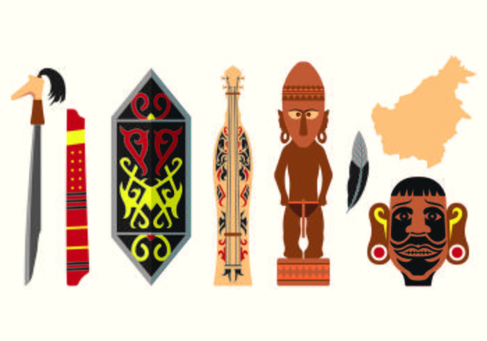 Set Of Dayak Icons