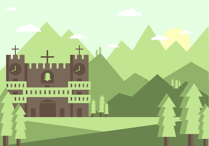 Abbey Landscape Illustration Vector #2