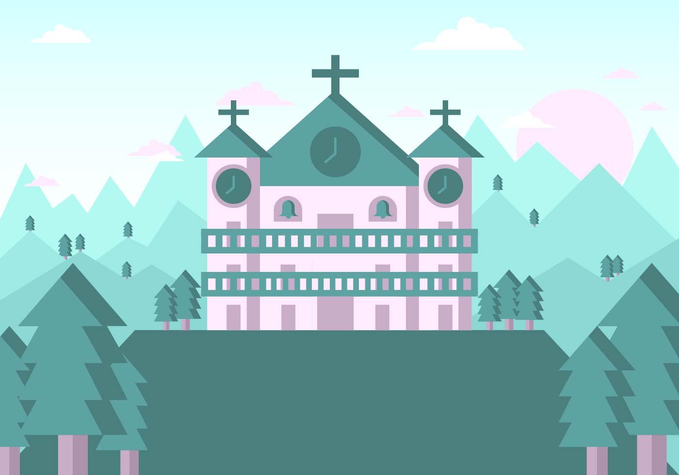 Landscape Illustration Vector Free: Abbey Landscape Illustration Vector #3