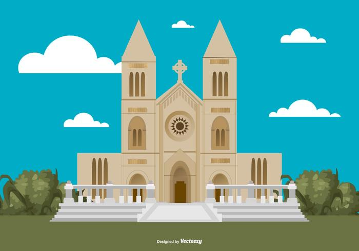Flat Style Abbey Building Illustration