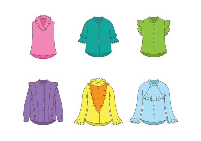 Female Shirt With Frills Vectors