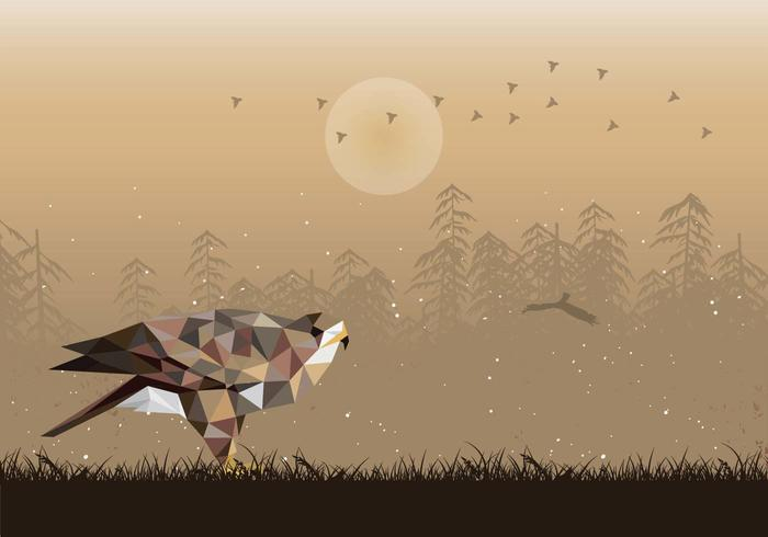 Buzzard Low Poly Illustration Vector
