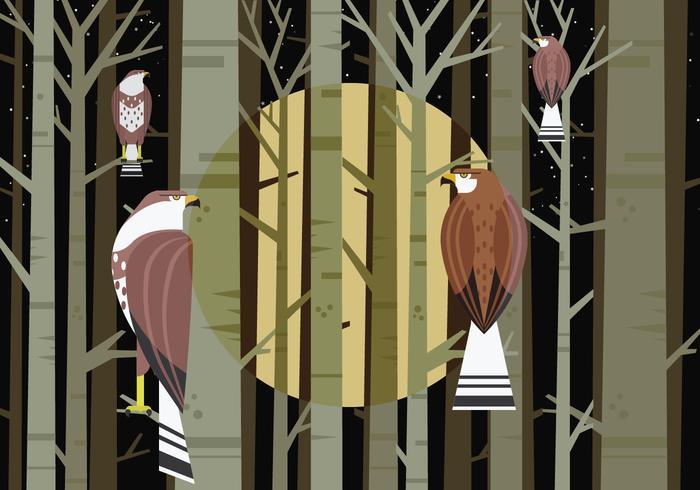 Buzzard Bird Sitting at Forest Tree Branch Vector Illustration