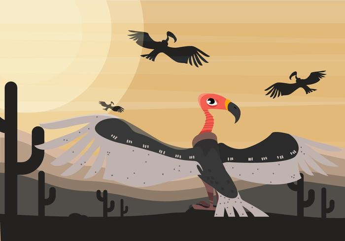 Buzzard Bird At Dessert Vector Illustration