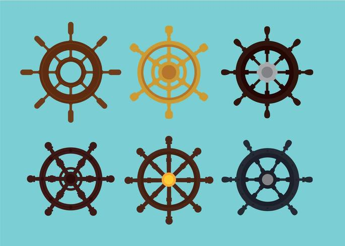 Ships wheels vector set
