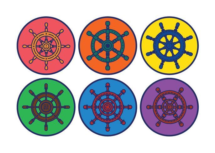 Ships wheel vector set